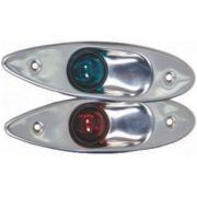 Luz de Bordo Olho de Tubarão Lateral de Proa de Embutir, Verde e Vermelha em INOX (Par)