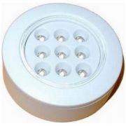 Mini Luminária Redonda em LED 12V de embutir para Interior em Plástico Branco, com 9 LEDs para Embarcações