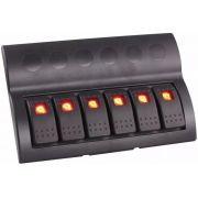 Painel Elétrico Náutico com 6 Botões com LED e Fusíveis 12V / 24V para Barcos e Lanchas