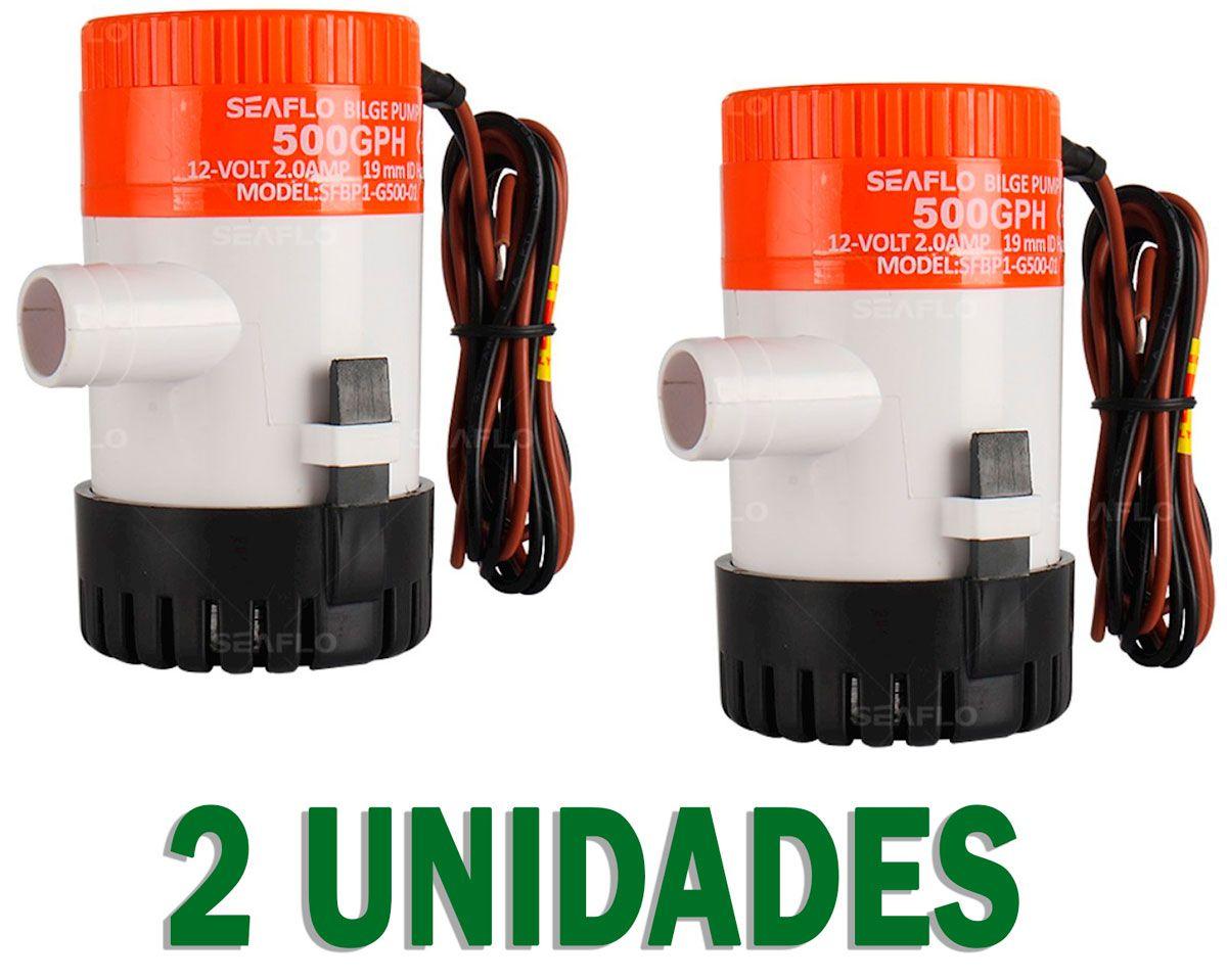 2 Unidades Bomba de Porão Seaflo 500 GPH 12V Modelo SFBP1-G500-01