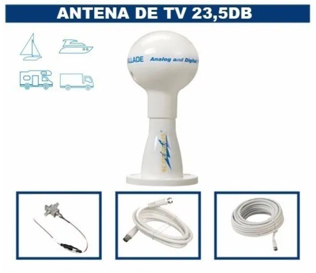 Antena de TV Digital Supergain 23,5db com Base, Cabo e Conexões p/ Lanchas Barcos Motorhomes SGT5000
