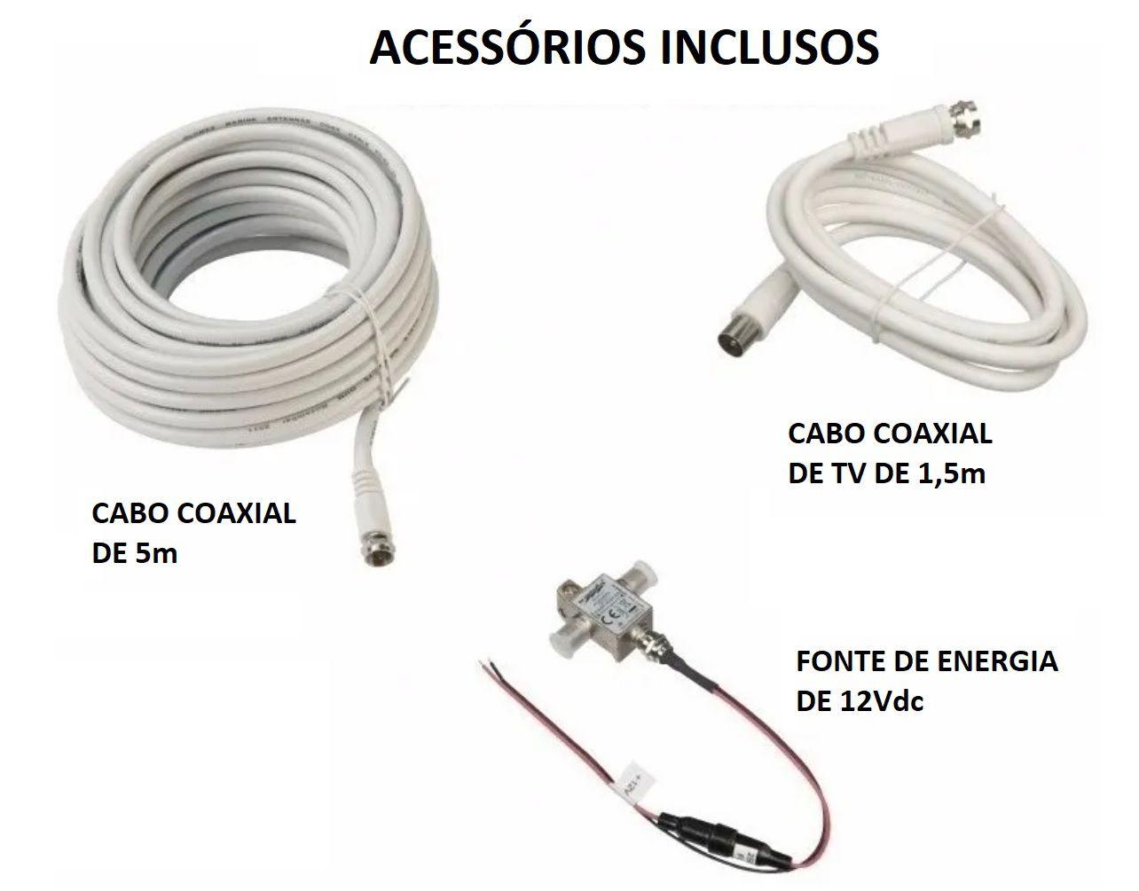 Antena de TV Digital Supergain 24db com Base, Cabo e Conexões p/ Lanchas Barcos Motorhomes SGT6000
