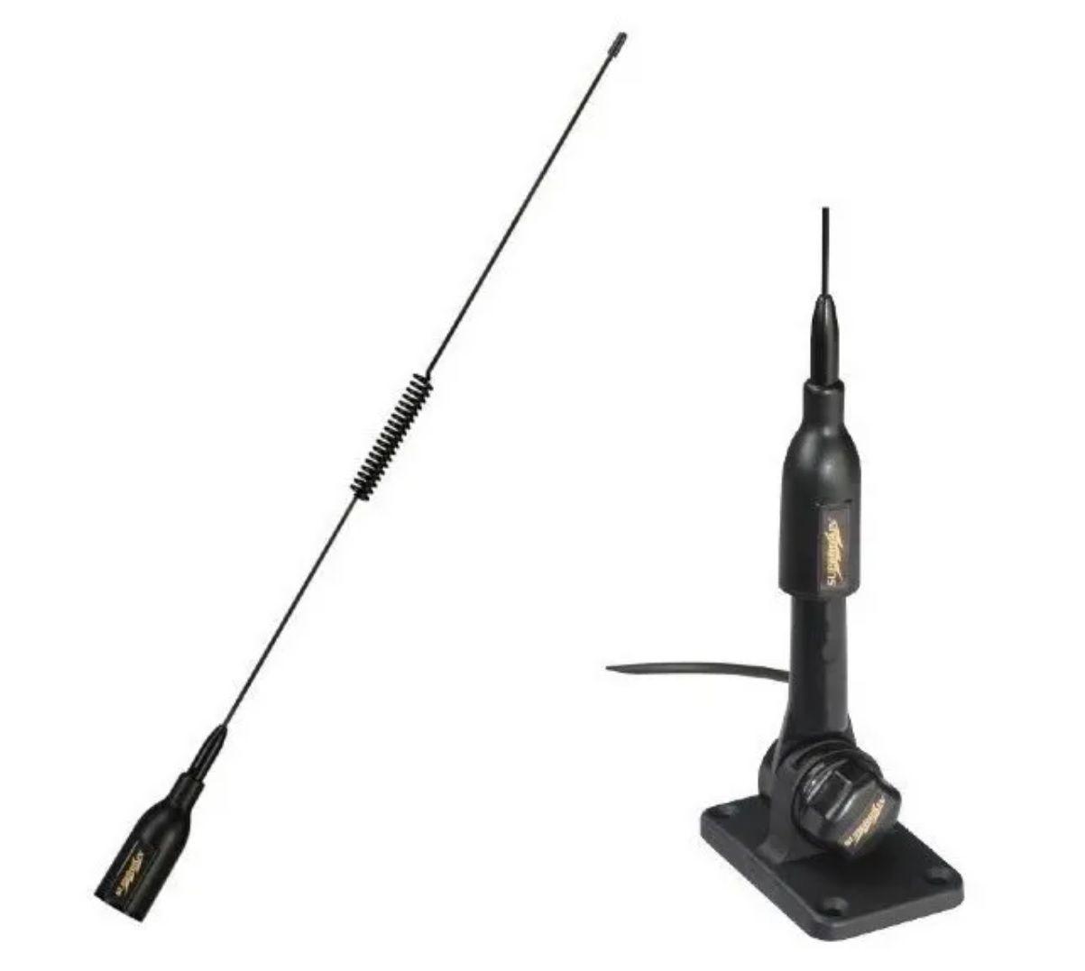 Antena VHF Náutica 3 dB para Rádio VHF com Base 53cm Supergain para Lanchas Barcos Jet Skis SGV70PBBK