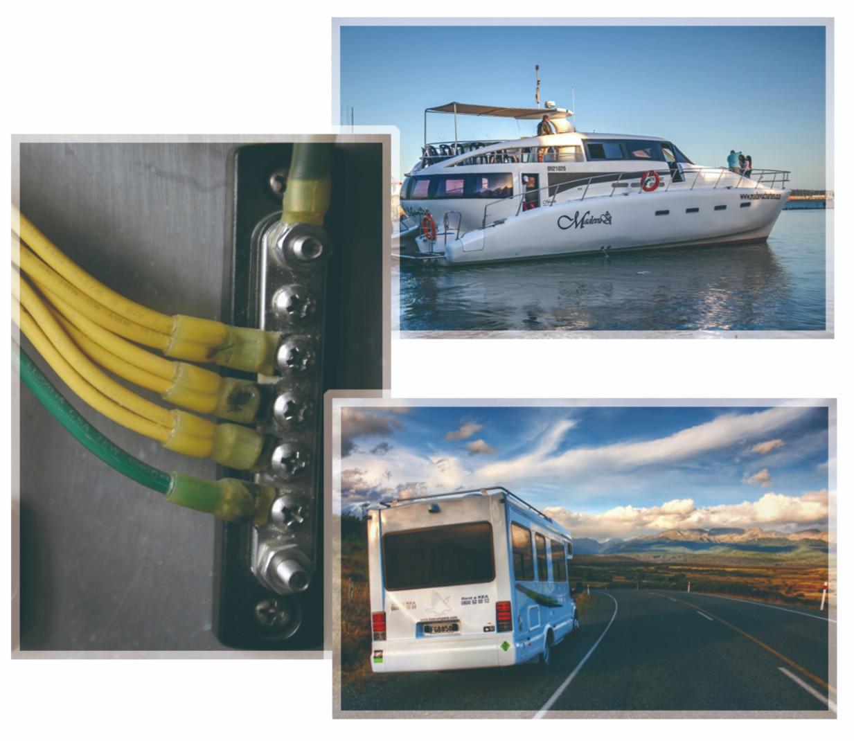 Barramento para Bateria de Barco com Placa de Cobre e 5 Pólos Terminais Elétricos 100A 48V