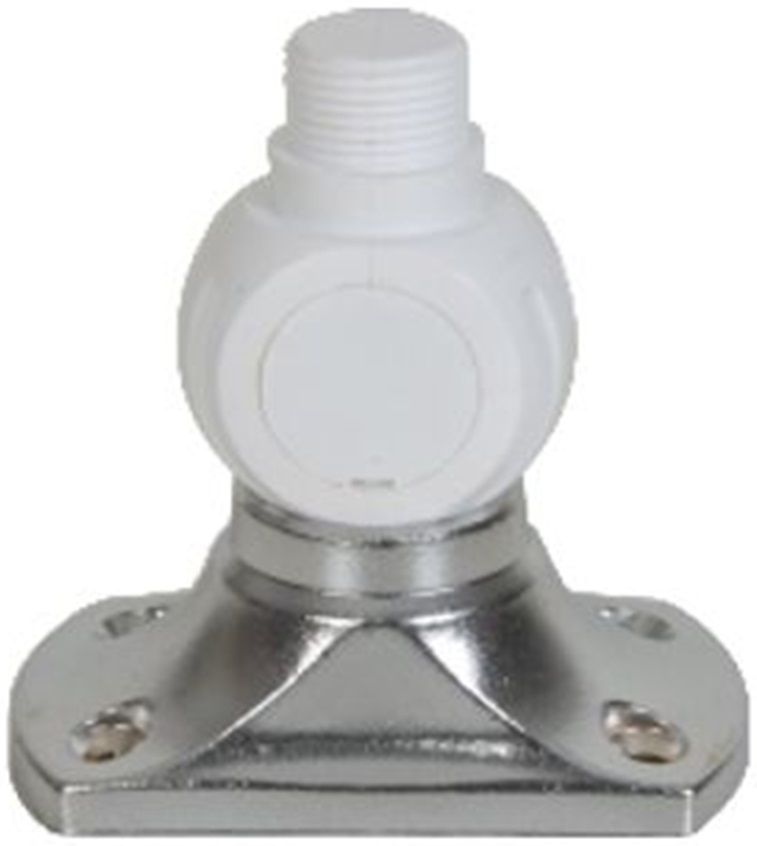 Base Suporte Articulado Esférica para Antena VHF com Fixação em Latão Cromado Giro 360 Graus Banten