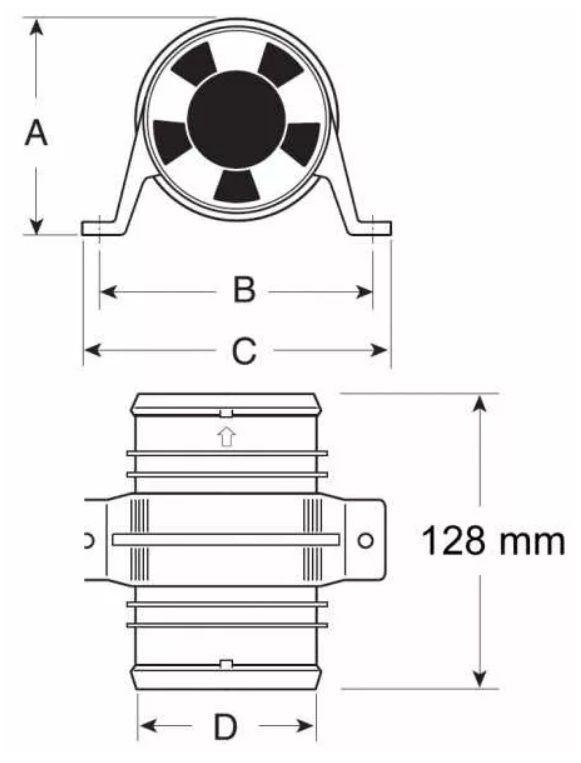 """Blower Exaustor de Porão Resistente a Água Náutico 4"""" 12V Linear Attwood 1749"""