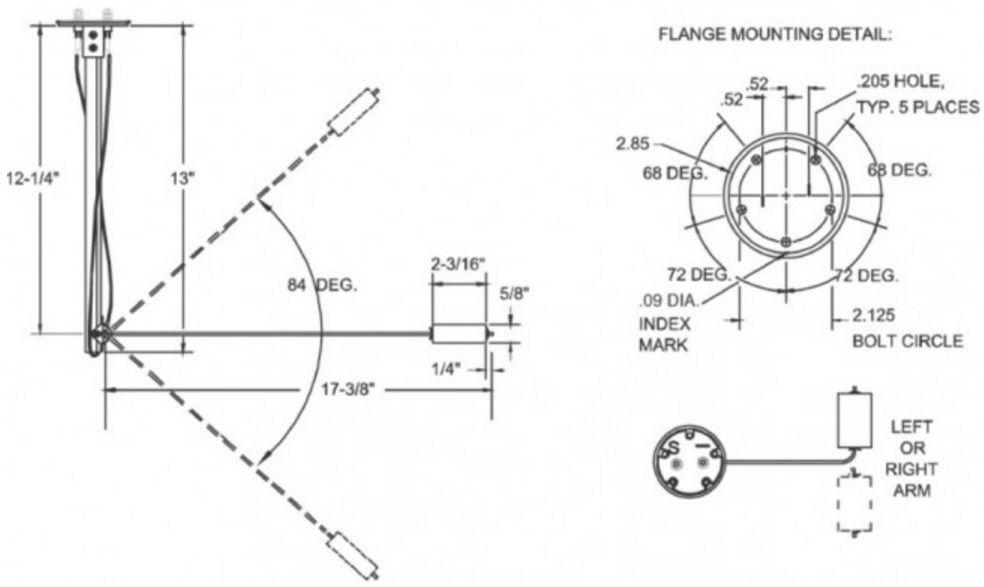 """Boia (Sensor de Nível) de Combustível Universal para Embarcações para Tanques de 4"""" a 24"""" - Veethree Modelo Code F 90424E"""