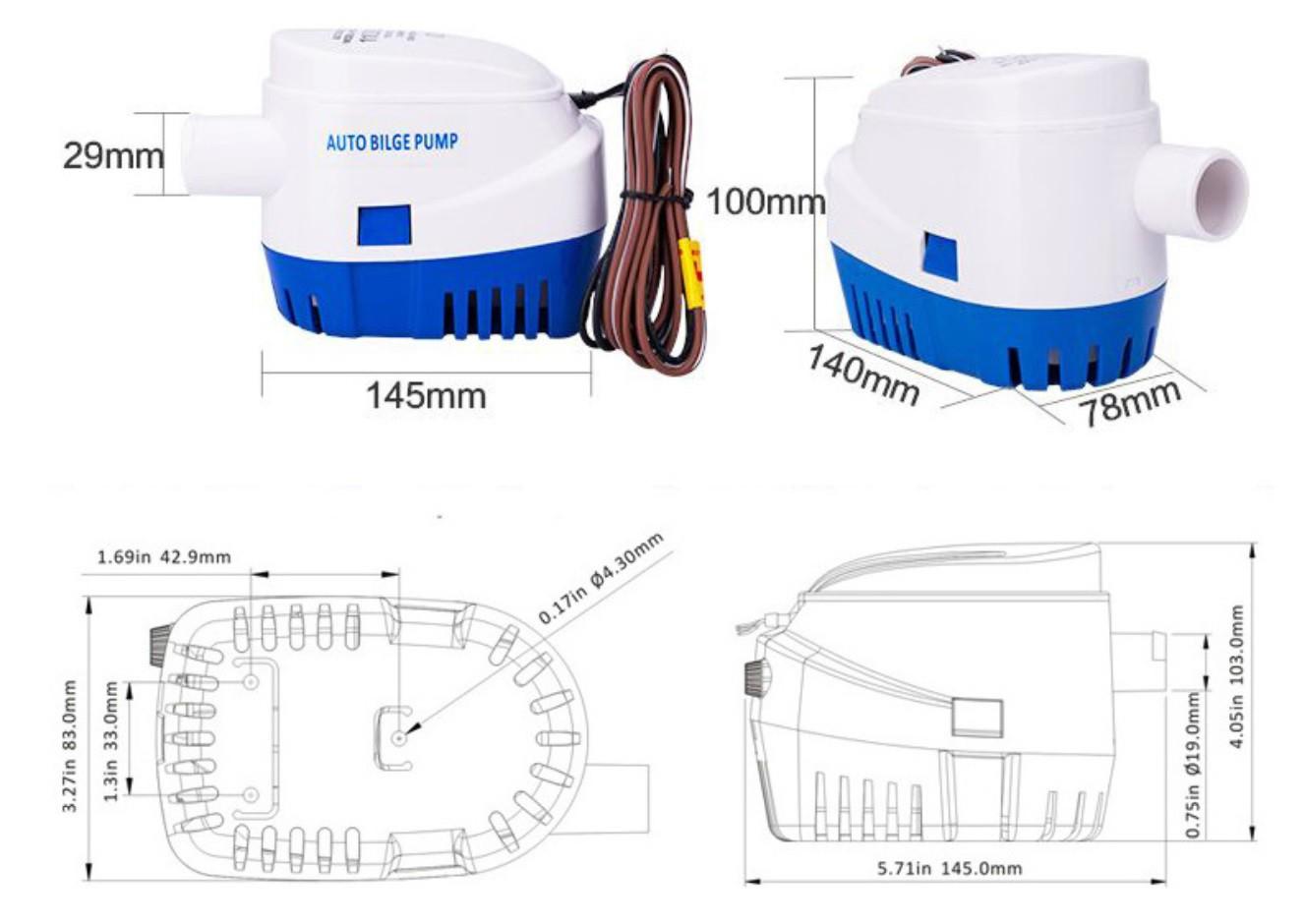 Bomba de Porão com Automático Integrado Life 750 GPH 12V para Barcos e Jetski