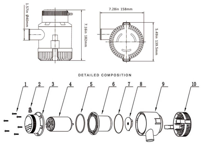 Bomba de Porão Life 3700 GPH 12V para Barcos e Lanchas