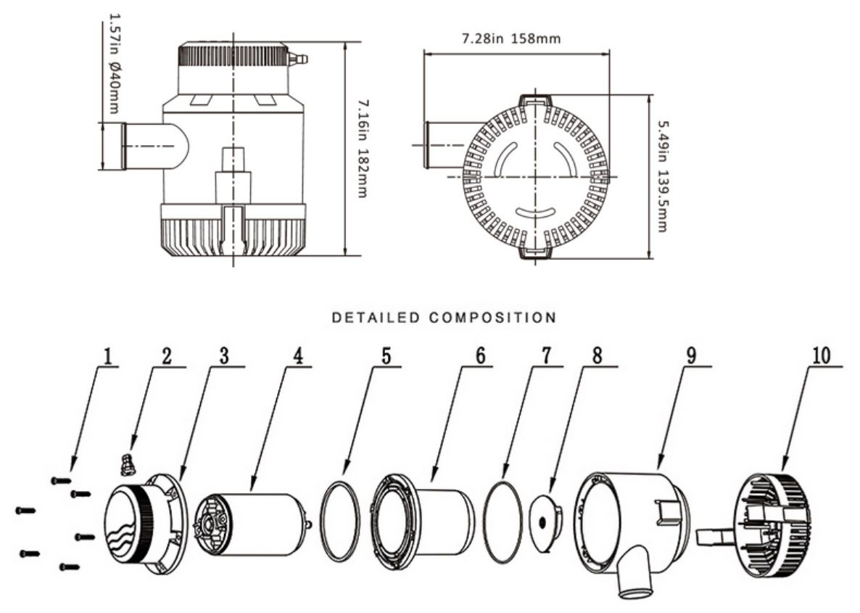 Bomba de Porão Life 4300 GPH 12V para Barcos e Lanchas