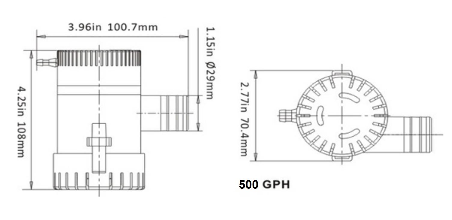 Bomba de Porão Life 500 GPH 12V para Barcos e Lanchas
