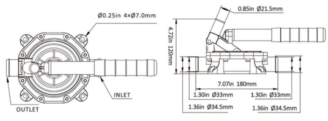 Bomba de Porão Manual com Diafragma em Alumínio Preta Seaflo 45 Litros (5.2 Galões) por Minuto