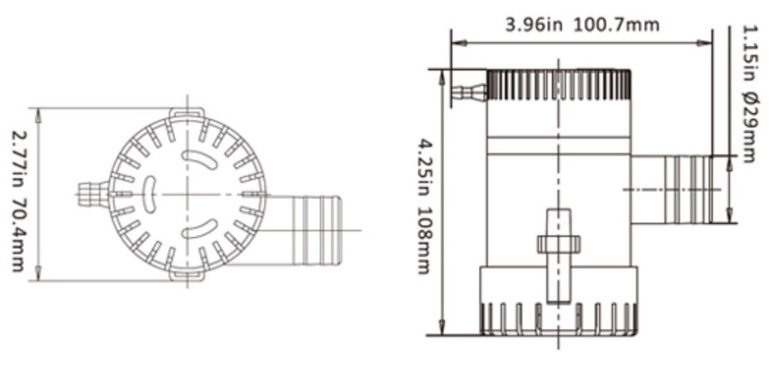 Bomba de Porão Seaflo 1100 GPH 24V Modelo SFBP2-G1100-01