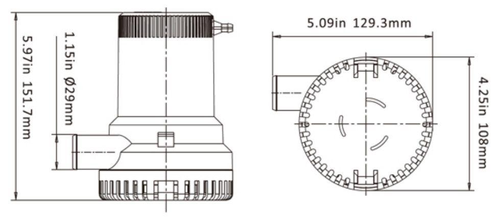 Bomba de Porão Seaflo 2000 GPH 12V Modelo SFBP1-G2000-01