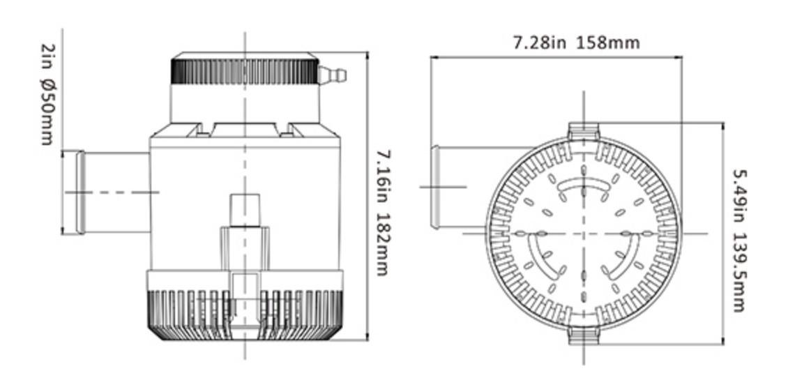 Bomba de Porão Seaflo 4700 GPH 17625 LPH 24V Modelo SFBP2-G4700-01 p/ Barcos e Lanchas