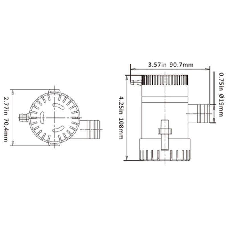 Bomba de Porão Seaflo 750 GPH 12V Modelo SFBP1-G750-01