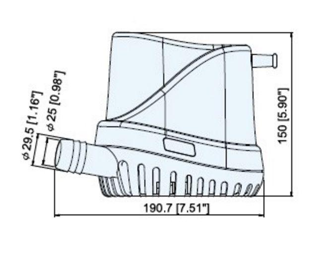 Bomba de Porão Submersível com Automático Integrado TMC 1500 GPH 12V Auto-Eye TMC-30615