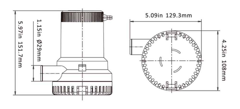 Bomba de Porão Submersível Life 1500 GPH 12V para Barcos e Lanchas