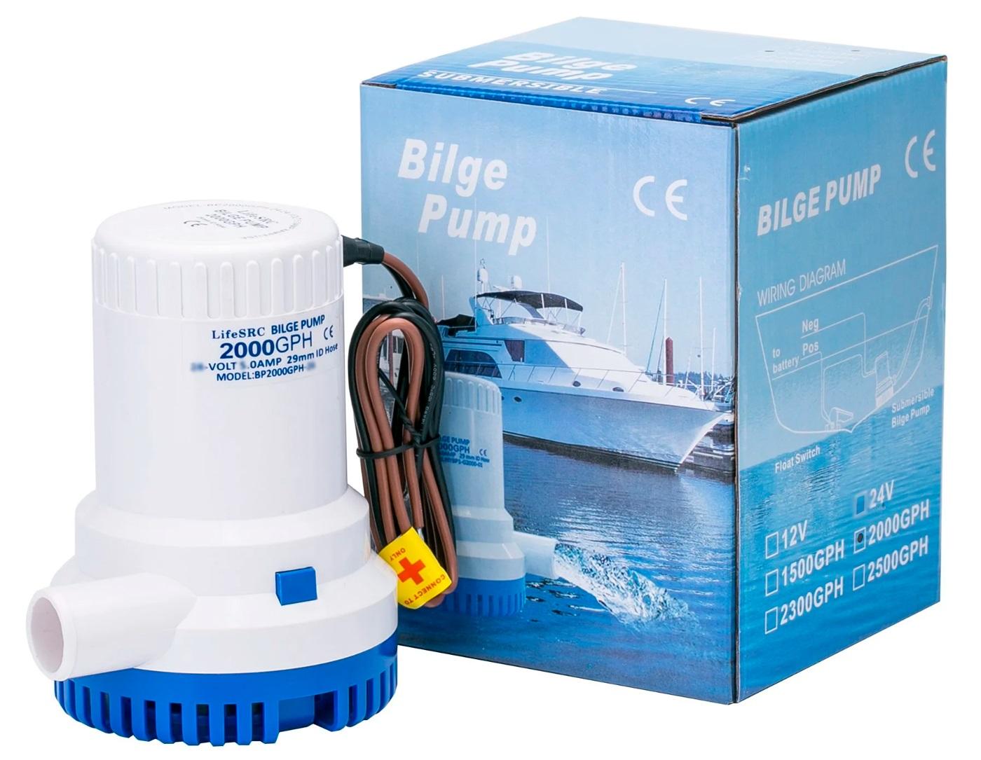 Bomba de Porão Submersível Life 2000 GPH 12V para Barcos e Lanchas