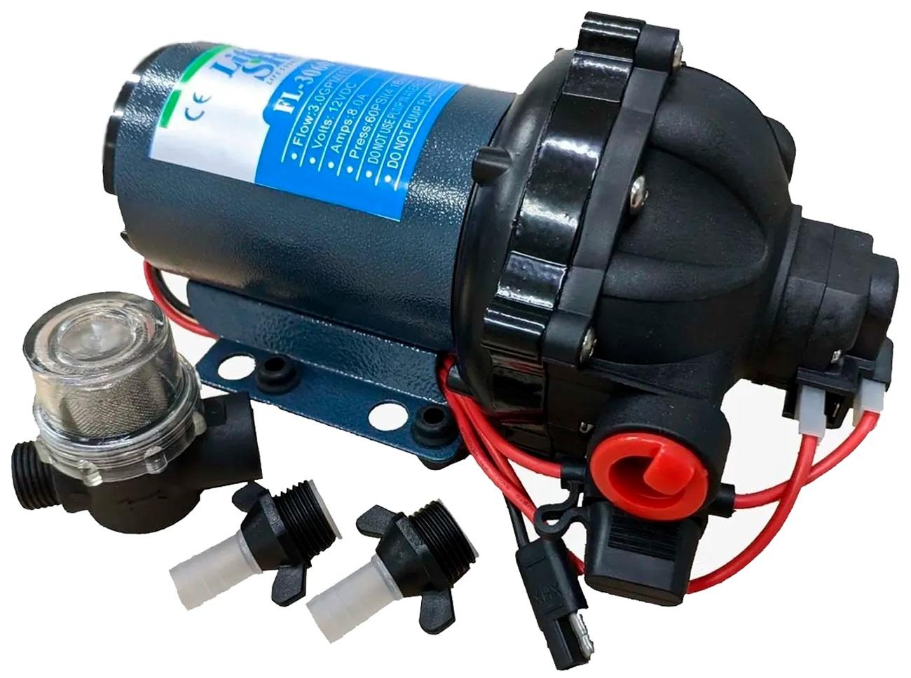 Bomba de Pressurização Automática Life 3.0 GPM 12V 60 PSI com Pressostato para Barcos Lanchas