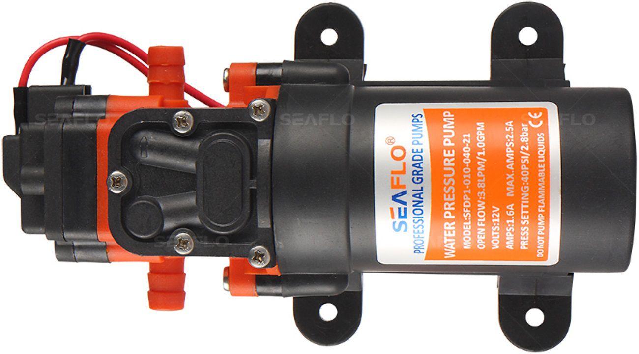 Bomba de Pressurização Automática Seaflo 1.0 GPM 12V 40 PSI com Pressostato Modelo SFDP1-010-040-21