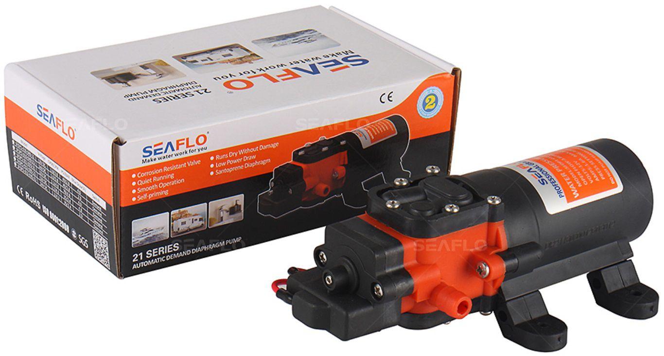 Bomba de Pressurização Automática Seaflo 1.1 GPM 12V 70 PSI com Pressostato Modelo SFDP1-011-070-21