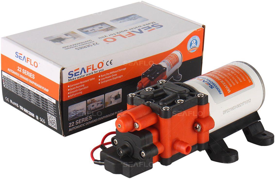 Bomba de Pressurização Automática Seaflo 1.4 GPM 12V 80 PSI com Pressostato Modelo SFDP1-014-080-22