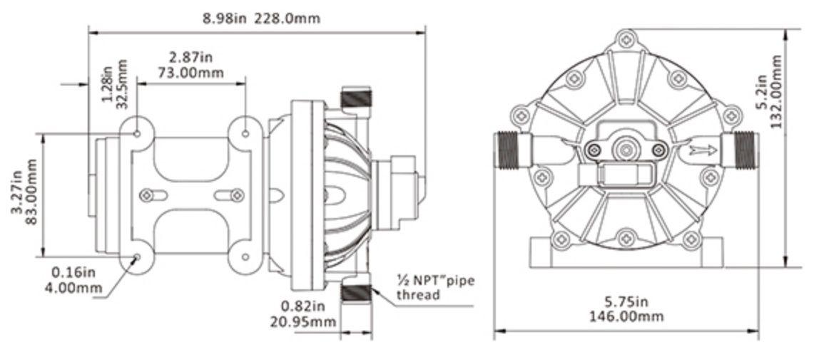 Bomba de Pressurização Automática Seaflo 4.0 GPM 12V 60 PSI com Pressostato Modelo SFDP1-040-060-51