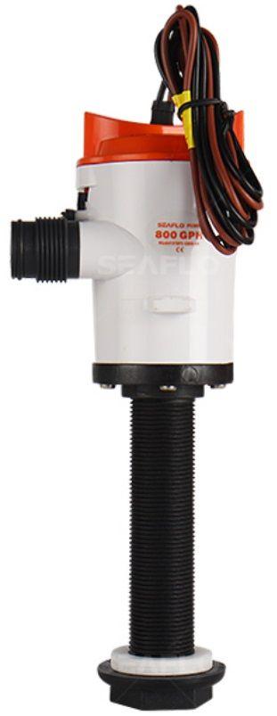 Bomba para Viveiro (Caixa de Peixe) Seaflo com Haste de Rosca 800 GPH 3028 LPH 12V para Oxigenação
