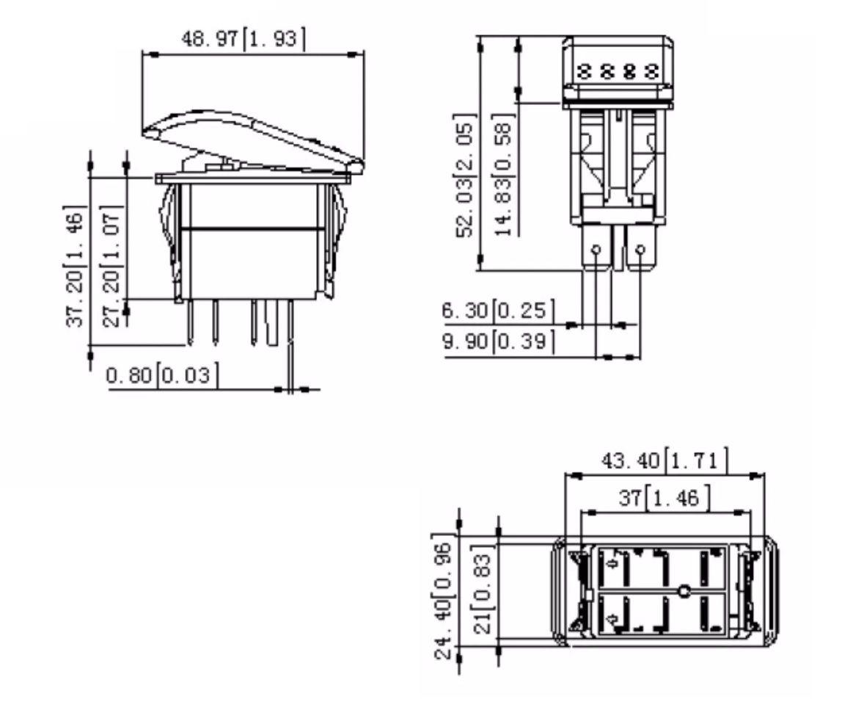 Botão Interruptor Contura Momentâneo Liga/Desliga p/ Buzina c/ Luz de LED Vermelha p/ Barcos Lanchas