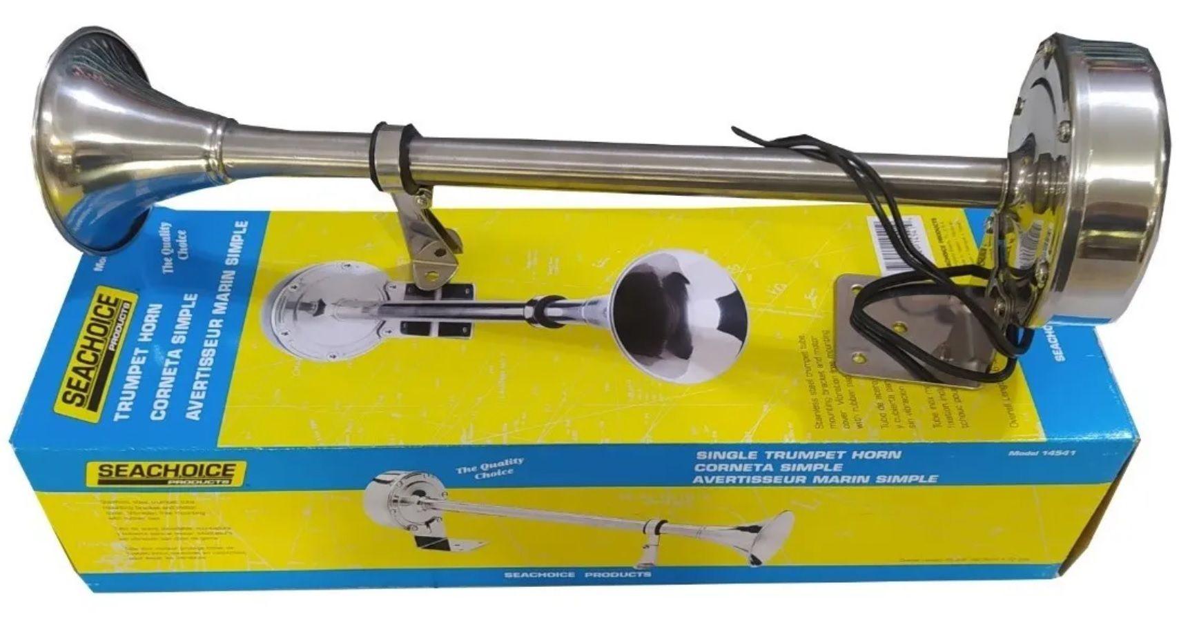 Buzina Elétrica Marítima Náutica Inox de 1 Corneta Simples 12V Seachoice p/ Barcos Lanchas e Veleiros