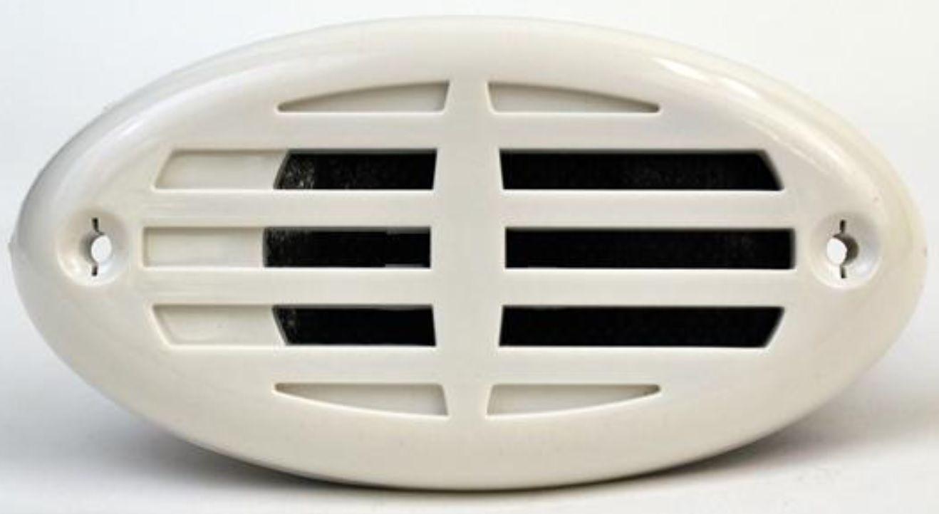 Buzina Náutica Elétrica Caracol 12V de Embutir em INOX com Tampas Plásticas Branca e Preta Attwood