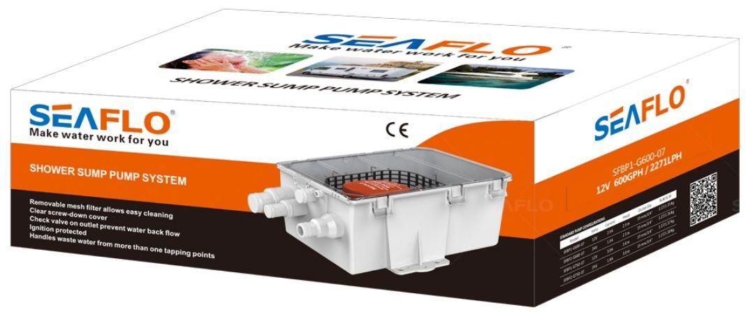 Caixa Coletora Sistema de Esgoto 750 GPH 24V Seaflo Grande p/ Embarcações c/ Bomba e Automático