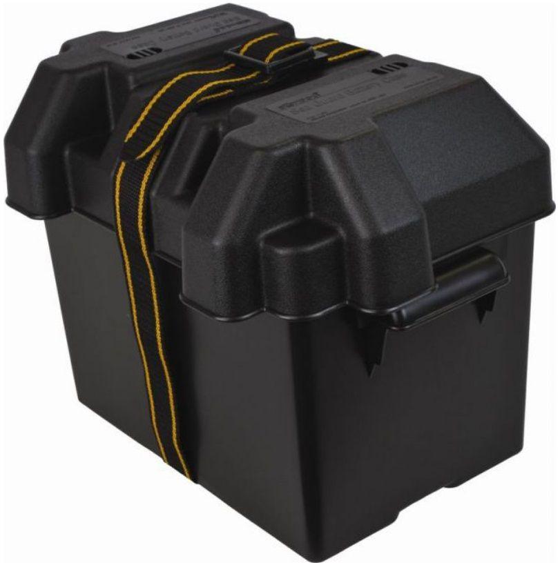 Caixa Protetora Plástica Suporte de Bateria de Barcos, Lanchas e Carros com Tampa e Cinta Attwood - Média