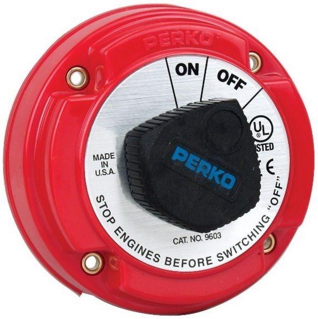 Chave Geral Perko 9603 para 1 Bateria 250A Contínuos com AFD (Chave de Corrente de Campo do Alternador)