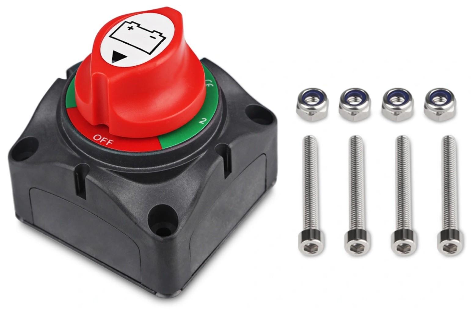 Chave Geral Seletora Náutica para 2 Baterias 200A Contínuos 12V a 50V p/ Barcos e Lanchas