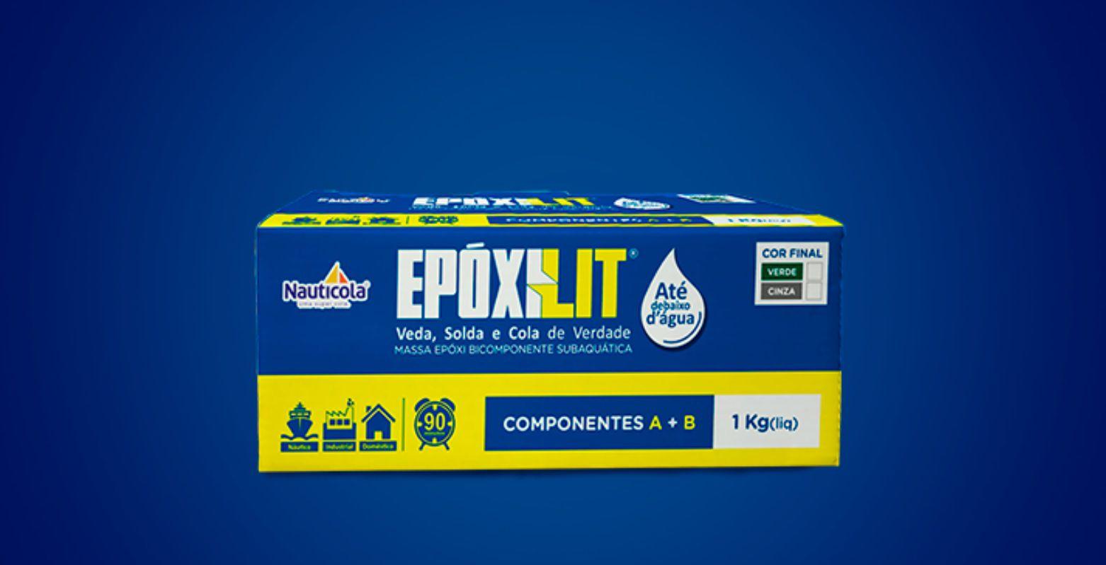 Cola Epoxi Nauticola Epoxilit Massa Subaquática 1,0 kg Componente A + B Impermeabilizante