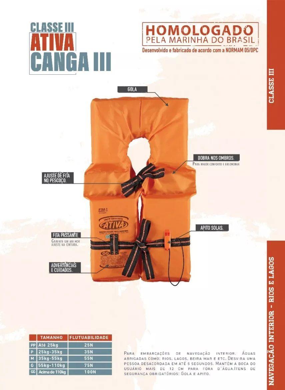 Colete Salva-Vidas Classe III Ativa Homologado para Lancha e Barco