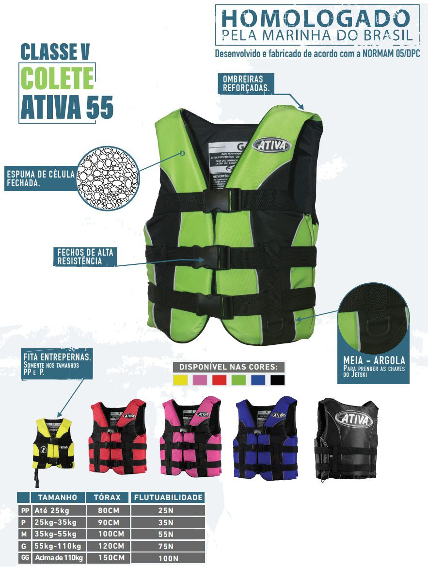 Colete Salva-Vidas Esportivo Ativa 55 Classe V Homologado Jet Ski Lancha Tamanho M Azul