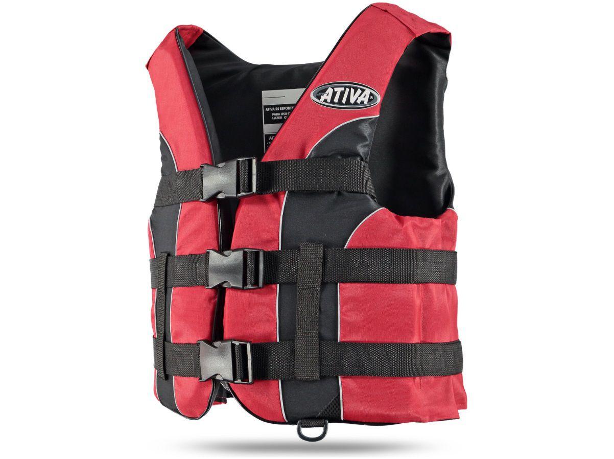 Colete Salva-Vidas Esportivo Ativa 55 Classe V Homologado Jet Ski Lancha Tamanho M Vermelho
