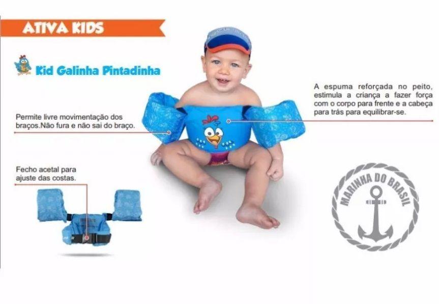 Colete Salva-Vidas Infantil Ativa Kids Galinha Pintadinha Homologado Azul Classe V Até 25 Kg