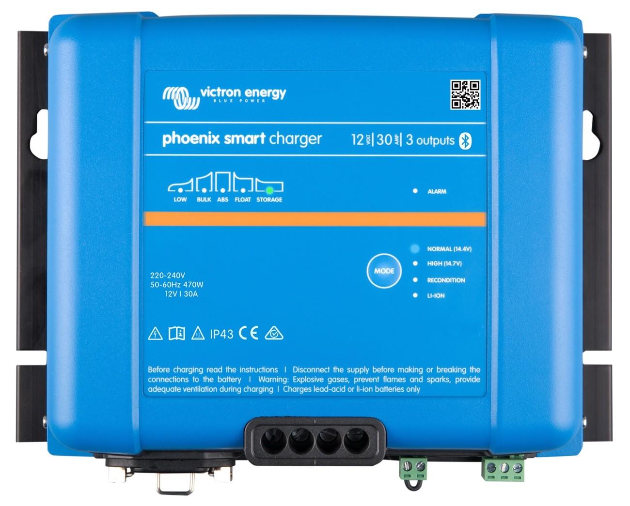 Controlador de Carga (Carregador) de Bateria Náutico Victron Phoenix Smart IP43 12V 30A para Barcos e Lanchas