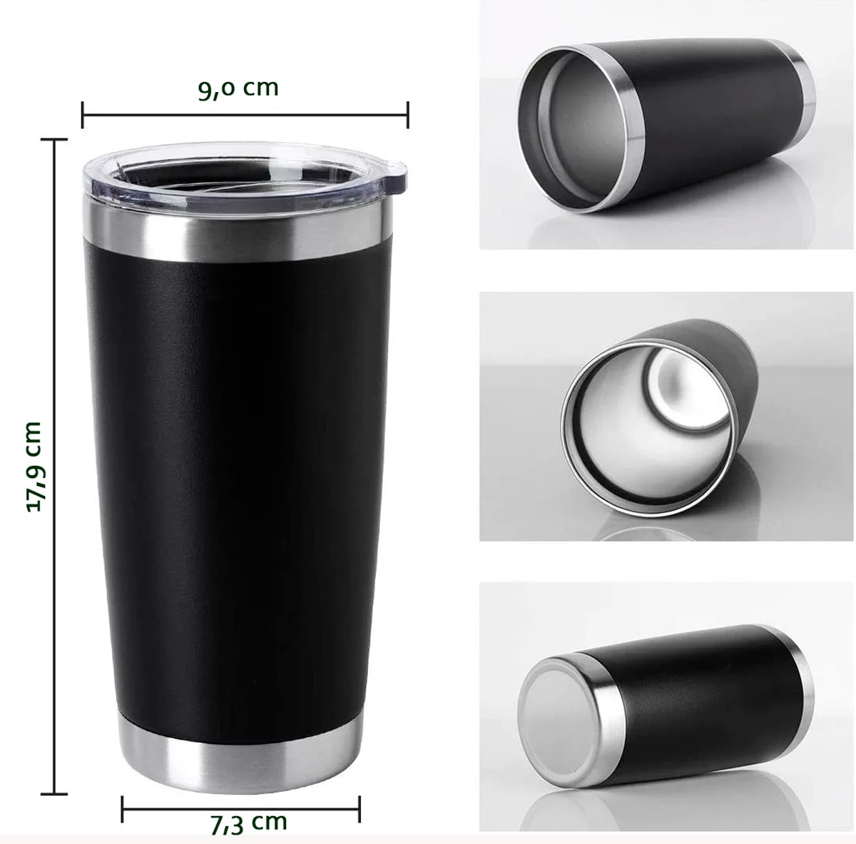 Copo Térmico Mug Life em Aço INOX com Paredes a Vácuo 600ml Mantém a Temperatura Quente e Frio