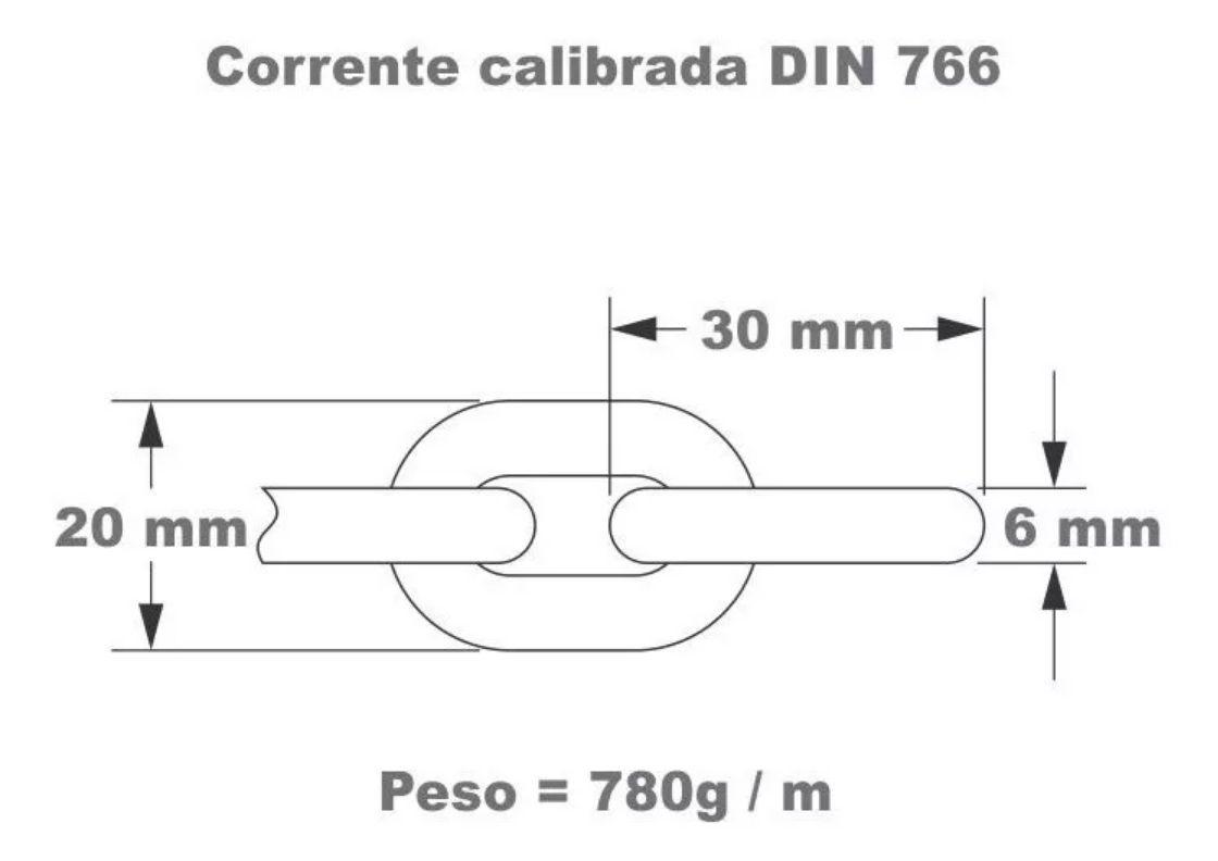 Corrente 6mm Calibrada de Aço Galvanizado DIN 766 (o metro) para Âncora Barcos Lanchas