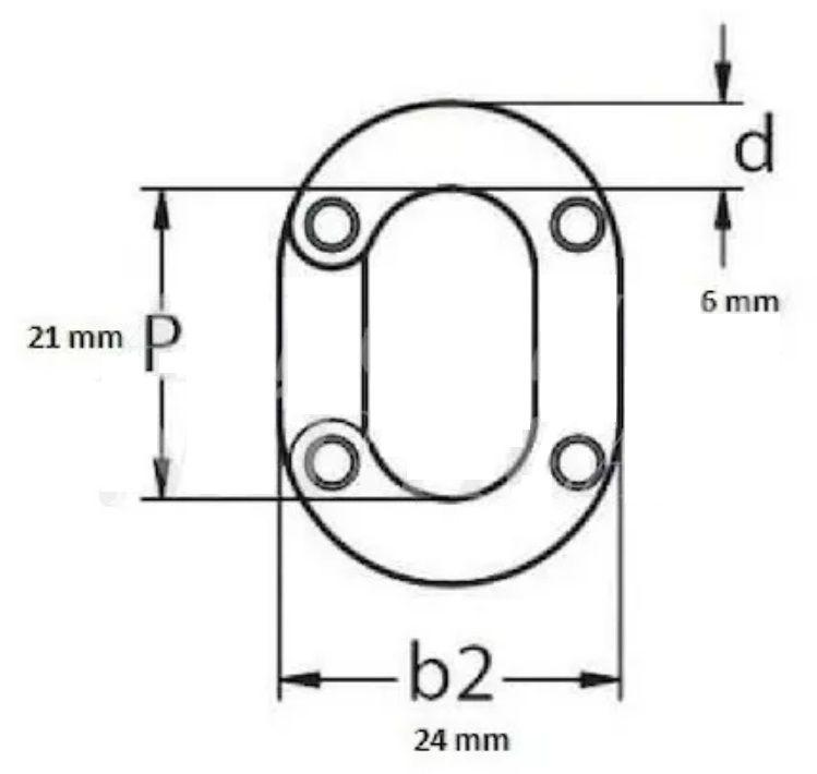 Elo Conector de Corrente 6mm em Aço Inox Calibrado DIN 766 para Âncora Barcos Lanchas