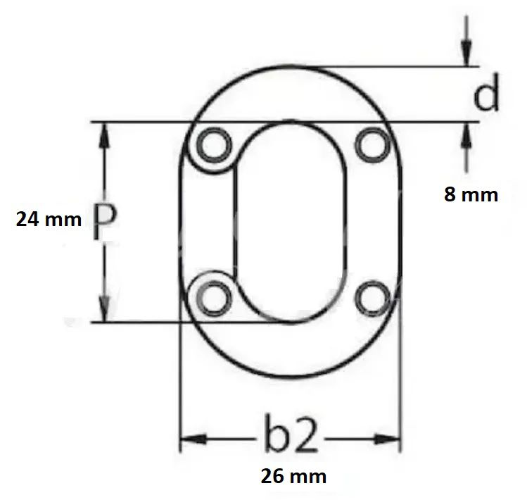 Elo Conector de Corrente 8mm em Aço Inox Calibrado DIN 766 para Âncora Barcos Lanchas