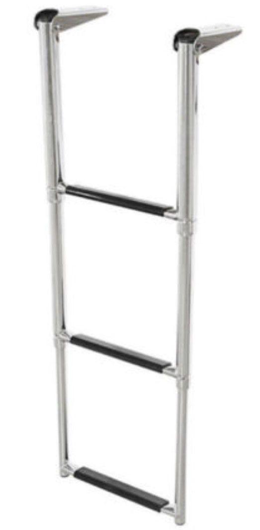 Escada em Aço Inox Telescópica Retrátil Dobrável para Embarcações com 3 Degraus com Antiderrapante