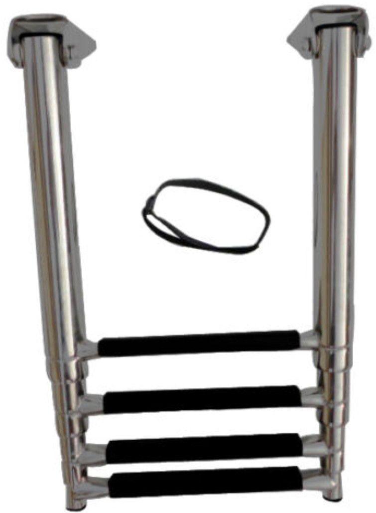 Escada em Aço Inox Telescópica Retrátil Dobrável para Embarcações com 4 Degraus com Antiderrapante