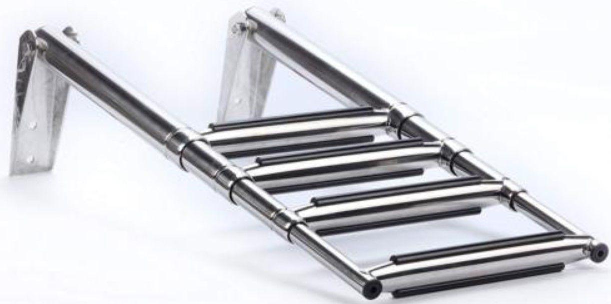 Escada Larga em Aço Inox Telescópica Retrátil Dobrável para Embarcações com 4 Degraus com Antiderrapante