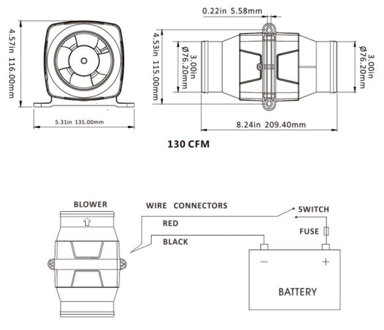 """Exaustor (Blower) de Ventilação Náutico 3"""" Horizontal 130 CFM 24V Linear"""